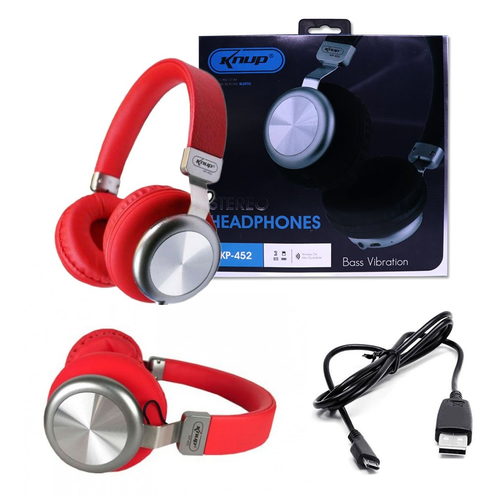 Headphone  Knup Kp-452 Bluetooth 5.0 Com Entrada P2 Bass Vibration Vermelho