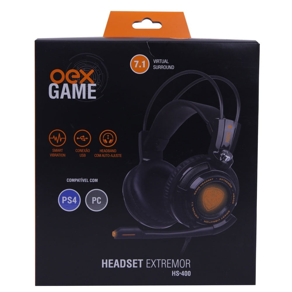 Headset Gamer 7.1 Vibration Extremor Preto Hs400 Oex