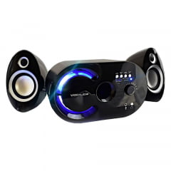 Caixa De Som 2.1 MultimÍDia 18w C/ Bluetooth Fm Entrada Sd/Usb Black/Red  Vc-G320bt Infokit