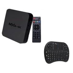 Smart Tv Box 4k + Teclado Wireless Com Touchpad