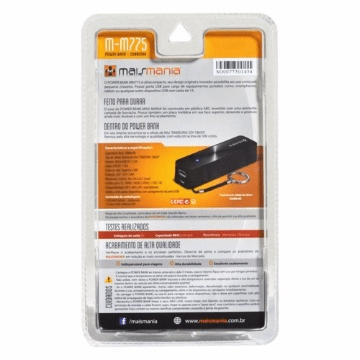 Power Bank 2600mah Preto Mm775 Mais Mania