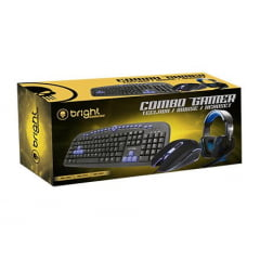 Combo Gamer Teclado Mouse E Headset Azul Bright