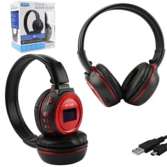 Headphone Digital - Micro Tf - Radio Fm - Bluetooth - Preto Com Vermelho - Kp-348 Knup