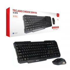 Kit Teclado E Mouse Sem Fio Wireless K-w10bk C3 Tech
