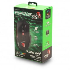 Mouse Gamer Nightmare 4000Dpi 6 botões Claw LED Mgnm Elg